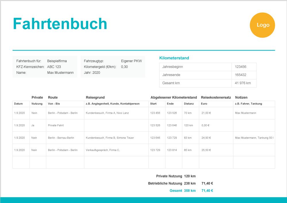 fahrtenbuch - Fahrtenbuch Muster