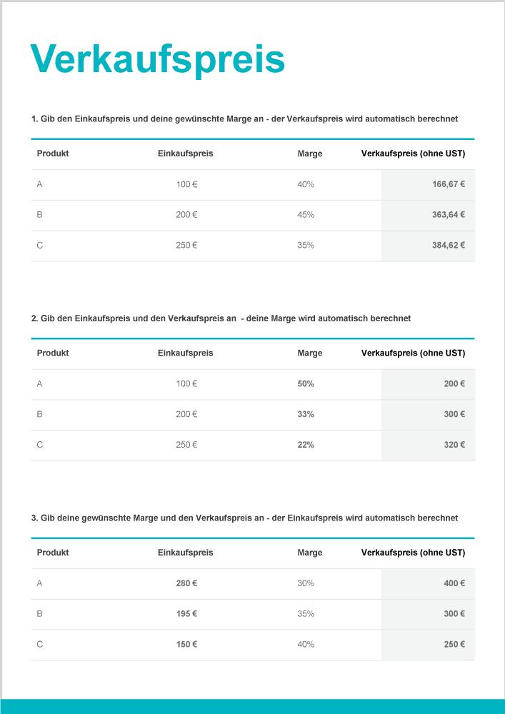 Verkaufspreis berechnen